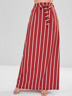 Stripes A Line Maxi Skirt - Cherry Red L