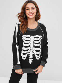 Halloween Skeleton Raglan Sleeve Sweatshirt - Black M