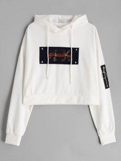 Letter Drop Shoulder Zip Embellished Hoodie - White M