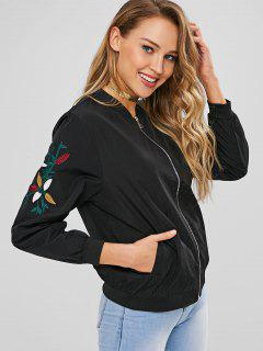 Zipper Floral Embroidered Bomber Jacket - Black M