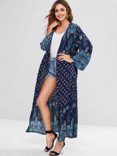 Blusa De Kimono Frontal Con Estampado Bohemio - Azul De Medianoche