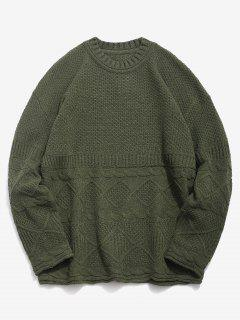 Solid Geometric Twist Knitted Sweater - Army Green 3xl