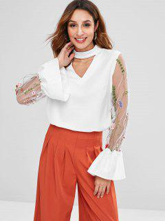 Blusa Floral Con Abertura En El Panel De Malla - Blanco L