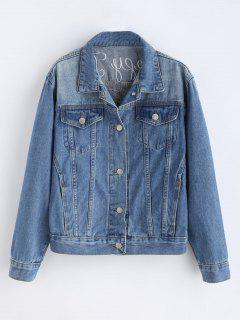Ostrich And Letter Pattern Embroidery Denim Jacket - Blue Gray M
