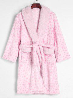 Belted Full Heart Winter Faux Fur Fluffy Bathrobe - Pink L