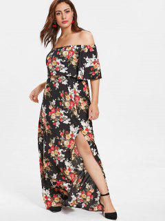 Floral Plus Size Off Shoulder Slit Dress - Multi 3x