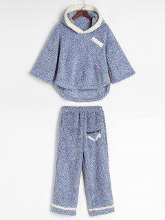 Mixed Yarn Fluffy Fleece Pajama Set - Light Blue L