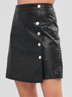Buttoned Faux Leather Pelmet Mini Skirt - Black L