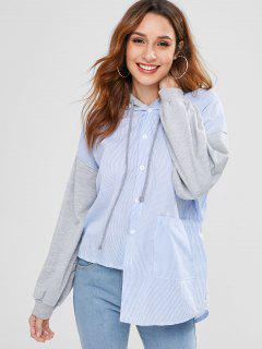 Button Up Striped Asymmetric Hoodie - Light Blue