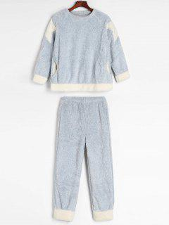 Star Patch Winter Fluffy Fleece Pajama Set - Light Blue M