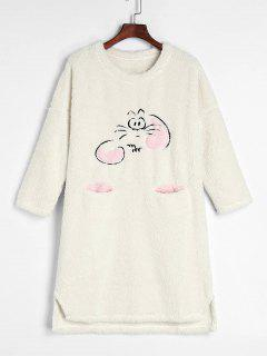 Cartoon Fluffy Fleece Winter Sleep Dress - White Xl