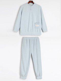 Ensemble De Pyjama D'Hiver Fourré Chaud En Laine - Bleu Léger  L
