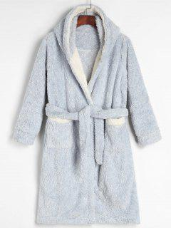 Hooded Belted Fluffy Fleece Bath Robe - Light Blue M