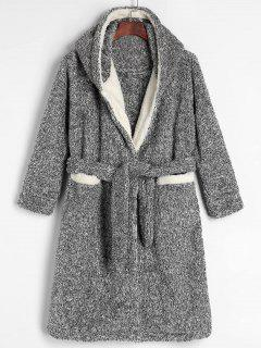 Hooded Belted Fluffy Fleece Bath Robe - Gray L