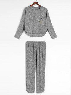 Space Dye Plain Knit Pajama Set - Multi M