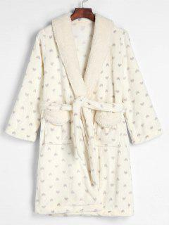 Belted Full Heart Winter Faux Fur Fluffy Bathrobe - Beige L