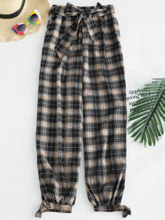 Belted Tied Hem Plaid Pants - Multi L