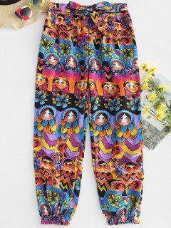 Mixed Floral Print Tie Waist Pants - Multi L