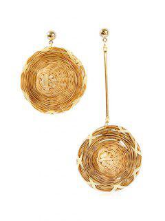 Hand-woven Cap Design Irregular Earrings - Gold
