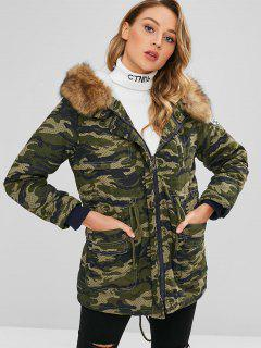 Camouflage Hooded Coat With Faux Fur Collar - Acu Camouflage Xl