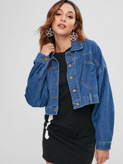 Lace Up Back Cropped Denim Jacket - Blue