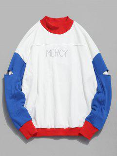 Color Block Sleeve Patch Sweatshirt - Red L