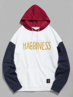 Farbblock-Buchstabe-beiläufiger Hoodie - Weiß L
