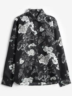 Rose Flowers Print Casual Shirt - Black M