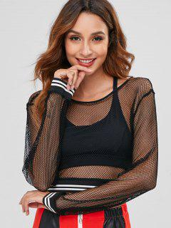 Striped Fishnet Crop T-shirt - Black M