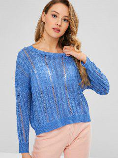 Cable Open Knit Boxy Sweater - Ocean Blue