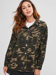 Button Up Camouflage Longline Jacket - Acu Camouflage L