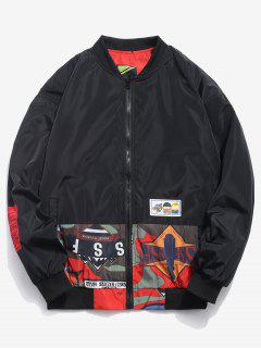 Graphic Pattern Reversible Bomber Jacket - Valentine Red M
