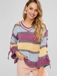 Pull Brillant En Blocs De Couleurs à Lacets - Multi