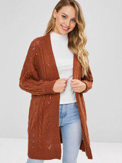 Open Front Cable Knit Longline Cardigan - Brown