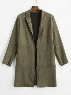 Open Front Raw Cut Faux Suede Coat - Army Green L