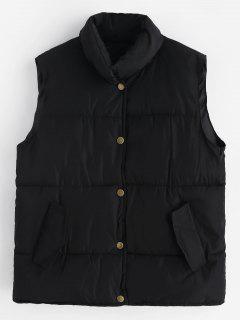 Snap Button Puffer Waistcoat - Black L