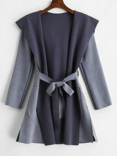 Raw Cut Faux Suede Hooded Coat - Blue Gray M
