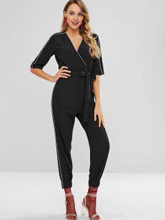 Half Sleeve Surplice Jogger Jumpsuit - Black M