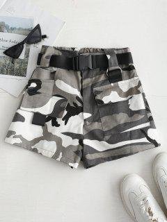 High Rise Belted Camo Print Shorts - Gray M