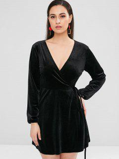Long Sleeve Mini Velvet Wrap Dress - Black M