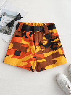 High Rise Belted Camo Print Shorts - Orange M