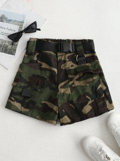 High Rise Belted Camo Print Shorts - Army Green M
