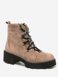 Lacing Platform Chunky Heel Short Boots - Apricot Eu 38