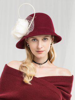 Vintage Floral Mesh British Hat - Red Wine