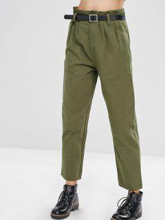 Pantalon Droit Ceinturé à Taille Haute - Vert Armée  M