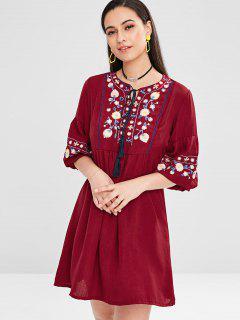 Vestido Borlas Bordado Floral - Vino Tinto