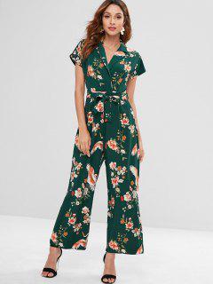 Belted Floral Revers Weiten Bein Overall - Dunkelgrün M