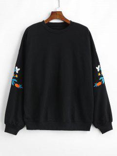 Embroidered Blouson Sleeve Ovesized Sweatshirt - Black