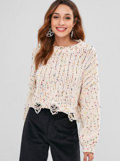 Ripped Cropped Oversized Chenille Sweater - Beige