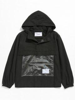 Front Pocket Windbreaker Jacket - Black L